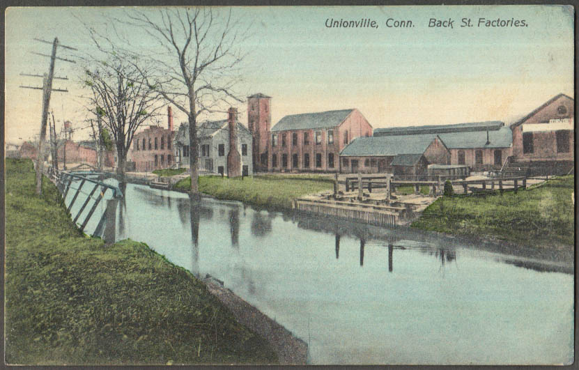 Image for The Back Street Factories on canal Unionville CT postcard 1911