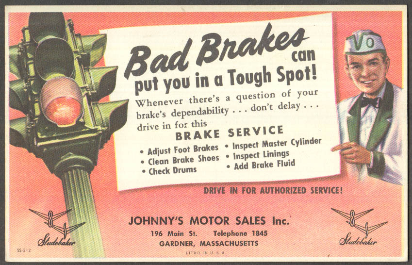 Image for Bad Brakes put you in a tough spot Johnny's Studebaker Gardner MA postcard 1950s
