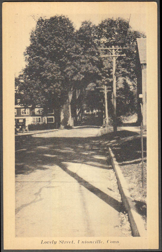 Image for Lovely Street view Unionville CT postcard Model T Ford ca 1920s