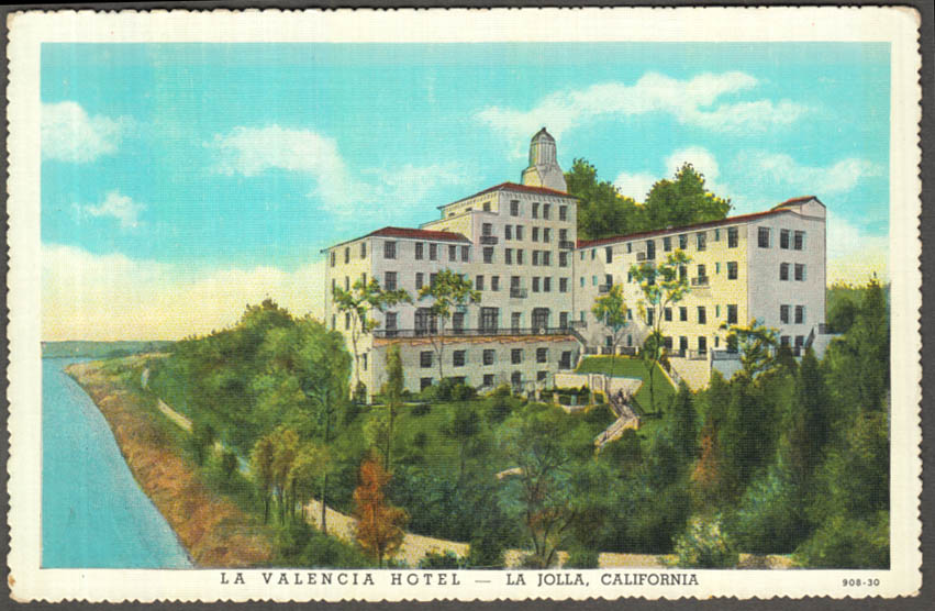 Image for The La Valencia Hotel at La Jolla CA postcard 1930s