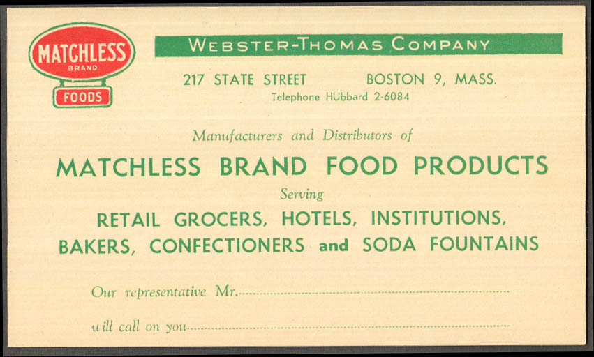 Image for Webster-Thomas Matchless Brand Foods advertising posctard Boston MA ca 1940s