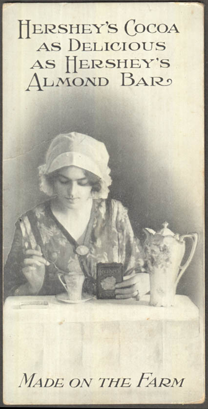 Hershey's Cocoa as Delicious as Hershey's Almond Bar advertising postcard c 1910