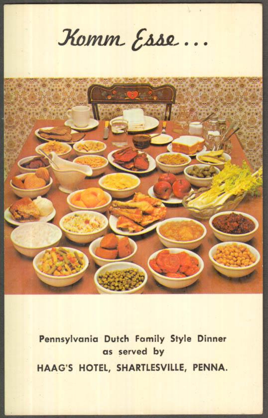 Image for Haag's Hotel Komm Esse Dinner Display Shartlesville PA postcard 1960s