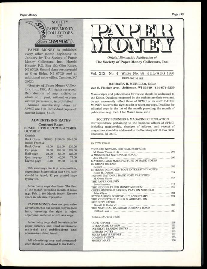 Image for PAPER MONEY 7-8 1980 Tonopah NV Red Seal National RR Bond; S S Adriatic Vignette