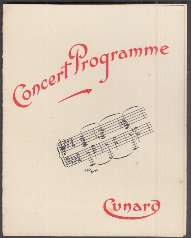 Cunard Line R M S Franconia Concert Programme 8/6 1933