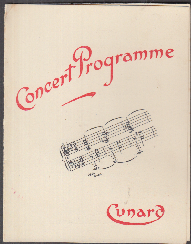 Cunard Line R M S Franconia Concert Programme 7/30 1933