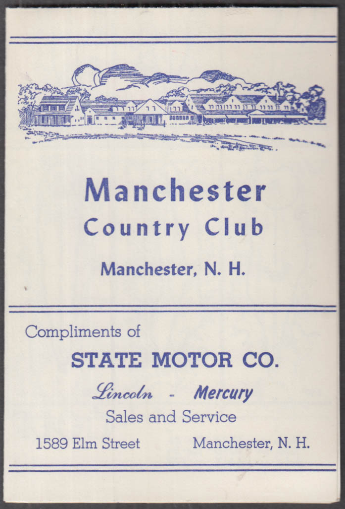 Manchester Country Club New Hampshire unused golf scorecard ca 1950s