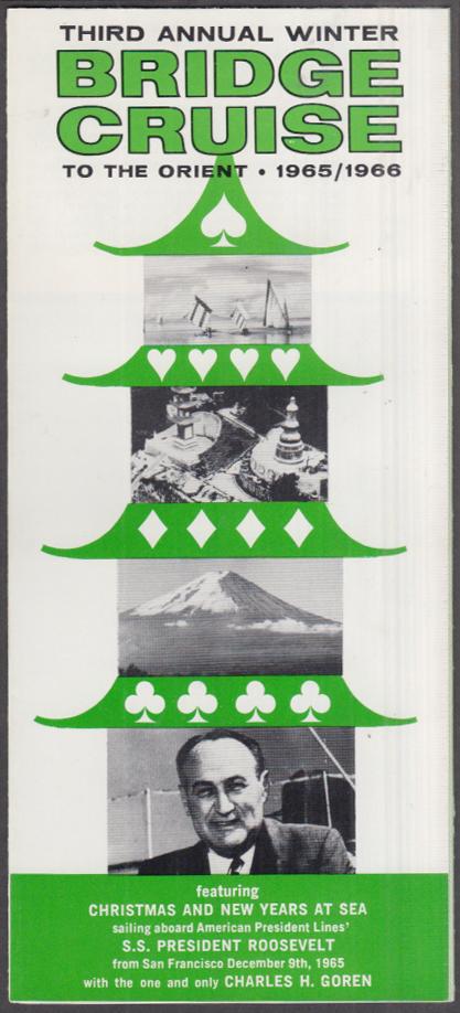 American President Lines S S Roosevelt Charles Goren Bridge Cruise folder 1965-6