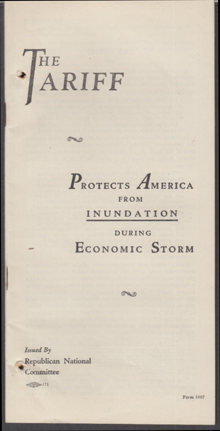 Hoover: The Tariff Protects American from Unundation RNC Campaign booklet 1932