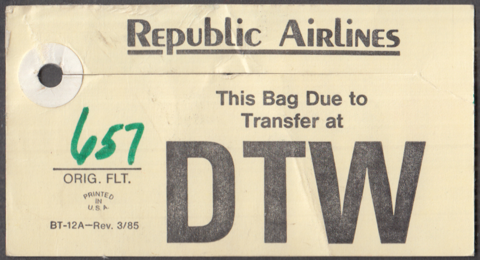 Republic Airlines flown transfer baggage tag DTW Detroit 1985