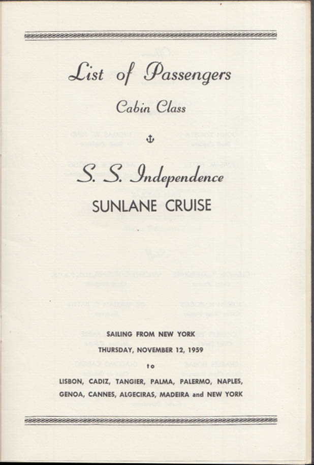 American Export Line S S Independence Sunlane Cruise Passenger List 11 1959