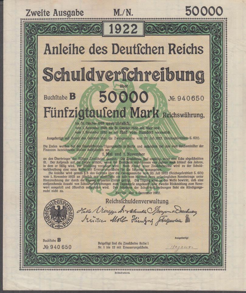 Anleihe des Deutschen Reichs Schuldverschreibung 50000 Mark Bond 1922