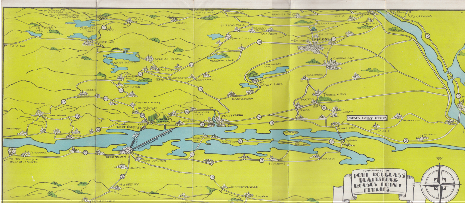 AAA Lake Champlain Ferries Tourist Guide Burlington-Port Douglass-Valcour 1932