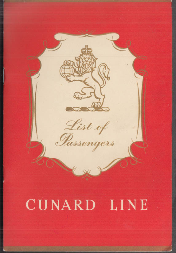 Cunard Line R M S Queen Mary List of Passengers 5/29 1958 Alistair Cooke