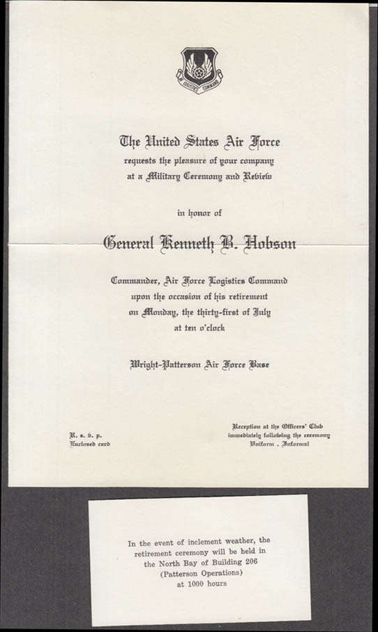 USAF General Kenneth B Hobson Retirement Ceremony Invitation 1967