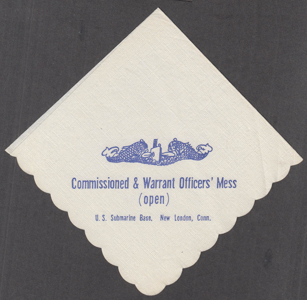 U S Submarine Base Commissioned & Warrant Officer's Open Mess napkin New London
