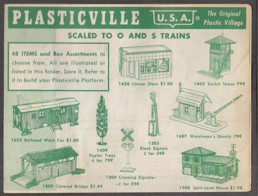 Plasticville U S A catalog folder O-scale & S-scale electric trains 1950s
