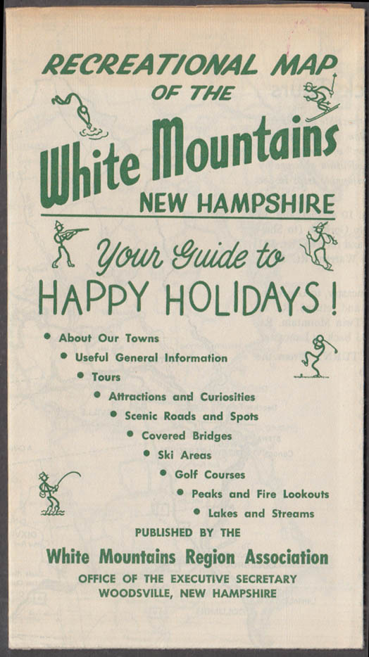 White Mountains New Hampshire Recreational Map ca 1930s