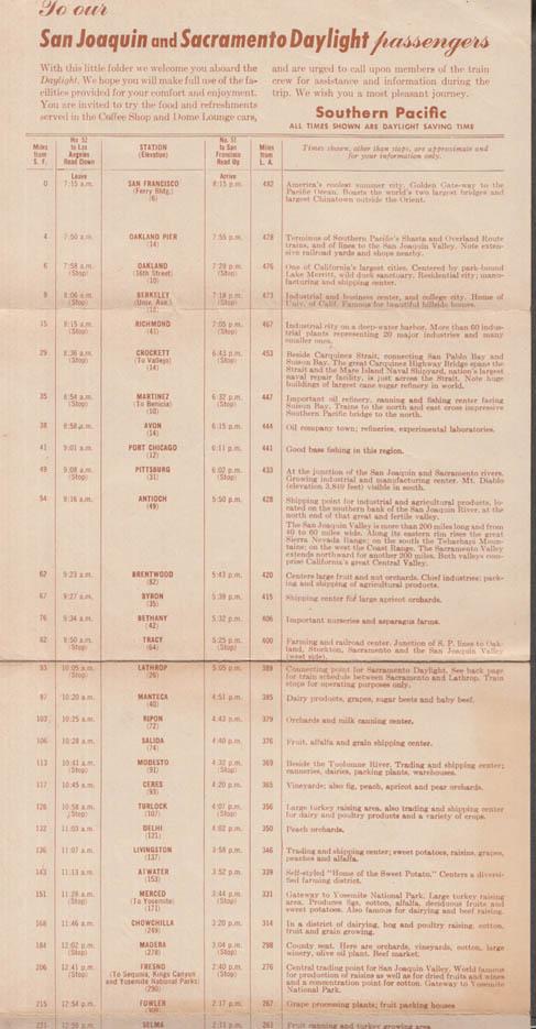 Southern Pacific Lines RR Sacramento & San Joaquin Daylight Trip folder 1958