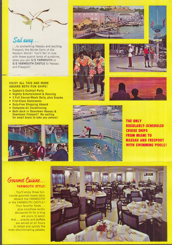 Yarmouth Cruise Lines S S Yarmouth & Yarmouth Castle Miami-Nassau folder 1950s