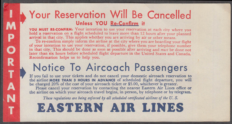Eastern Air Lines Re-Confirm Advisory slip 1950s