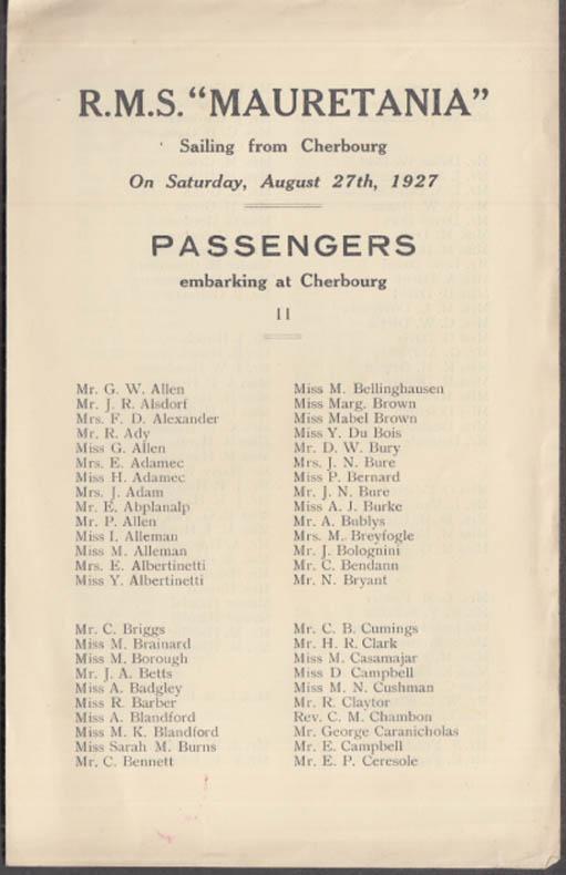 Cunard Line R M S Mauretania Passengers Embarking from Cherbourg 8/27 1927