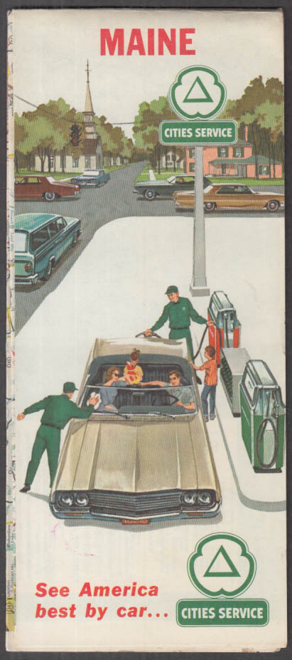 Cities Service Gasoline Road Map State of Maine 1964