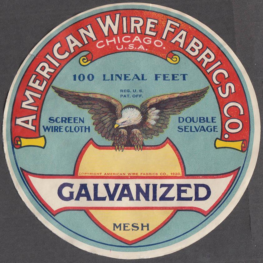 American Wire Fabrics Galvanized Mesh Screen Wire Cloth label 1920