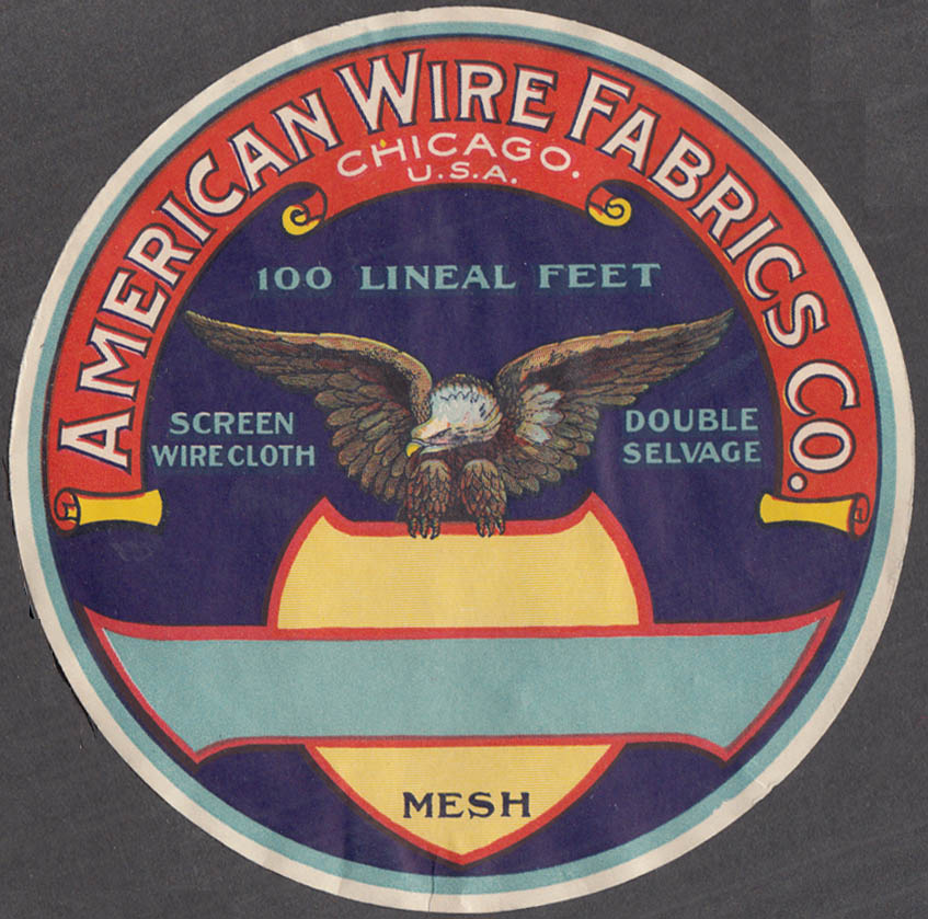 American Wire Fabrics Mesh Screen Wire Cloth Double Selvage label 1920