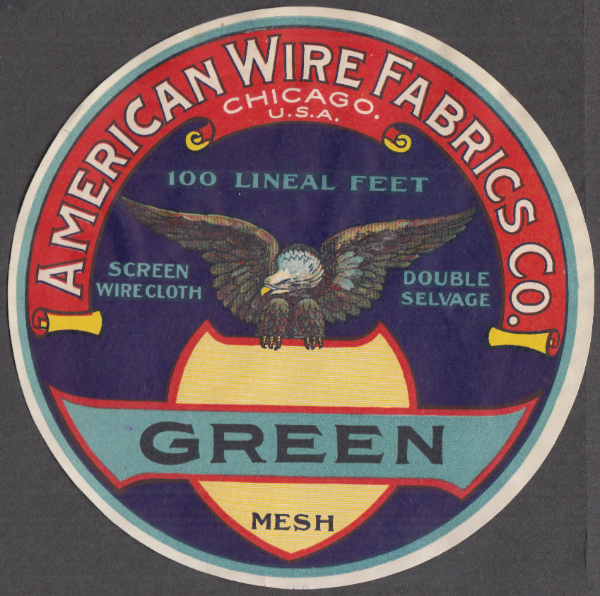 American Wire Fabrics Green Mesh Screen Wire Cloth Double Selvage label 1920