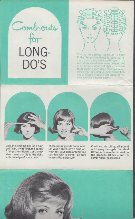 Roller-Perm Brush-Outs for Short & Long Hair instruction broadside 1960s