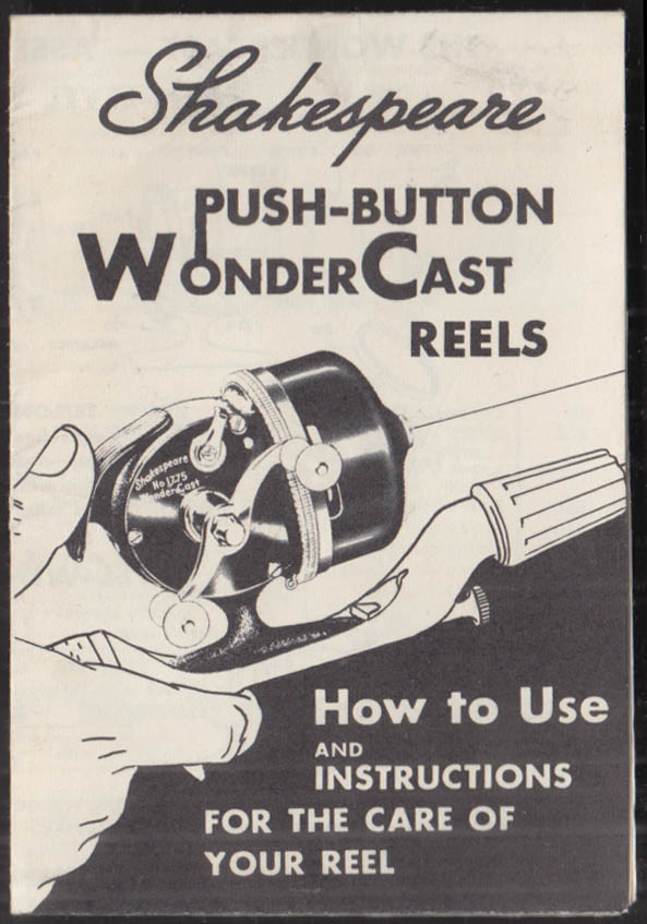 Shakespeare Push-Button WonderCast Fishing Reel Instructions folder ca 1950s