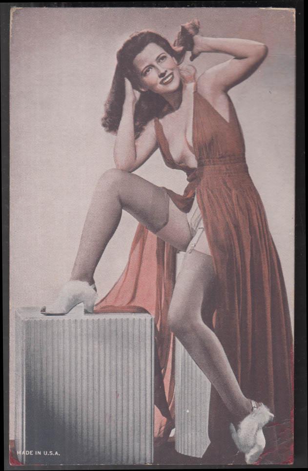 Arcade card ca 1940s woman in nightgown stocking & garter belt