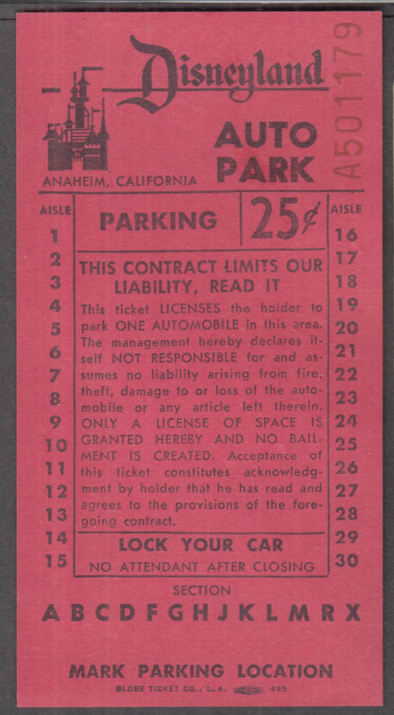 Disneyland Auto Park 25c Parking Receipt 1964