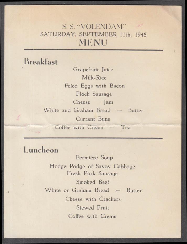 Holland America Line S S Volendam Breakfast / Luncheon Menu Card 9/11 1948