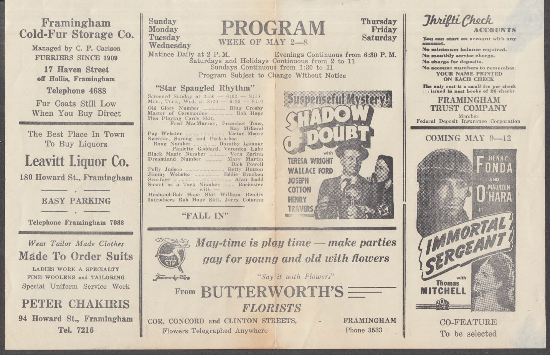 St George Theatre Framingham MA Movie Program 5/1943 Star Spangled Rhythm +