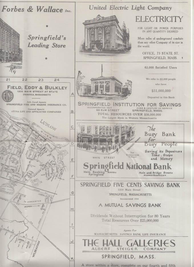 Street Map of Hartford Connecticut & Springfield Massachuestts 1934