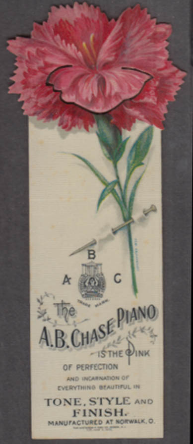 A B Chase Piano celluloid rose-motif bookmark 1905 Norwalk Ohio