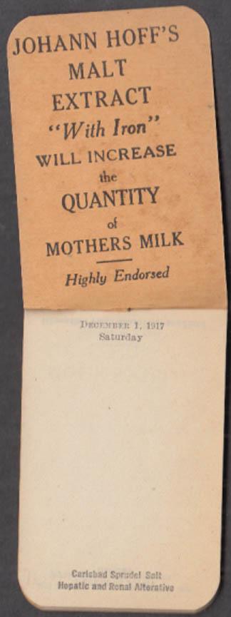 Johann Hoff's Malt Extract with Iron Monthly Memorandum Book 12 1917
