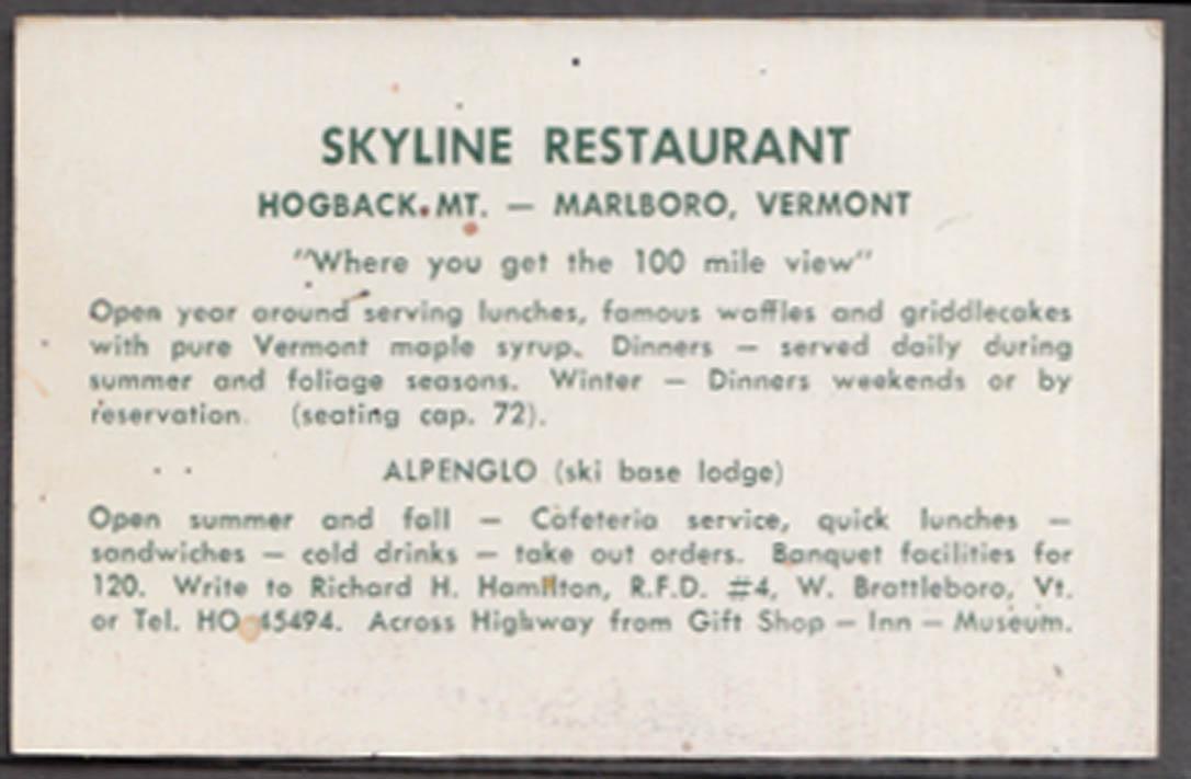 Skyline Resataurant Hogback Mountain Marlboro VT business card 1950s