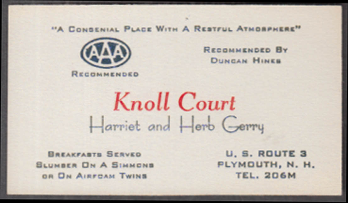 Knoll Court business card Plymouth NH 1940s Harriet & Herb Gerry