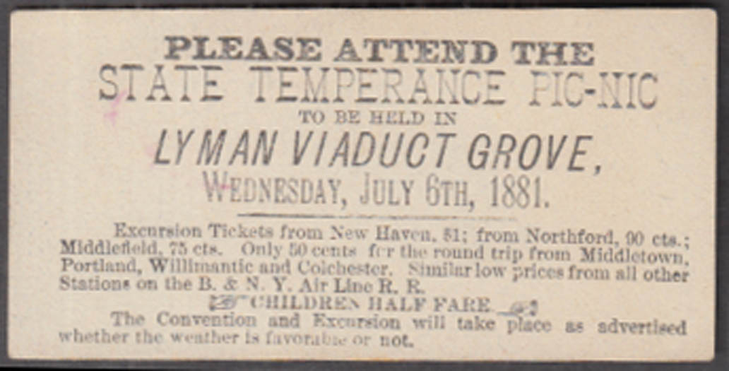 State Temperance Picnic Lyman Viaduct Grove CT invitation card 7/6 1881