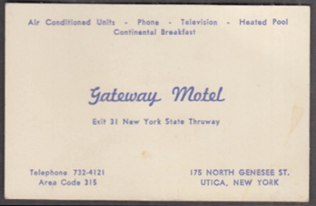 Gateway Motel Exit 31 NY Thruway Utica NY business card ca 1960s