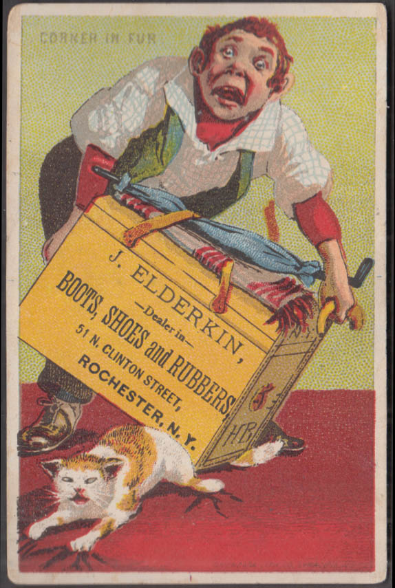 J Elderkin Boots Shoes Rubbers trade card Rochester NY cat's tail mashed 1880s