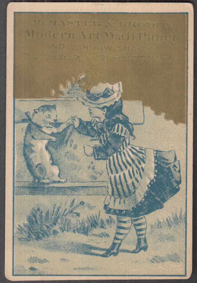 Image for McMaster & Brodie Modern Art Wall Paper trade card Rochester NY girl & cat 1880s