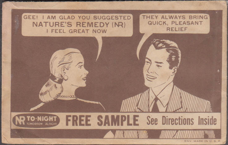 NR To-Night Nature's Remedy Laxative Free Sample envelope & instructions 1940s