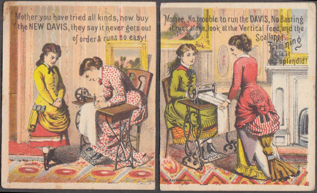 Pair of Davis Sewing Machine trade cards 1880s