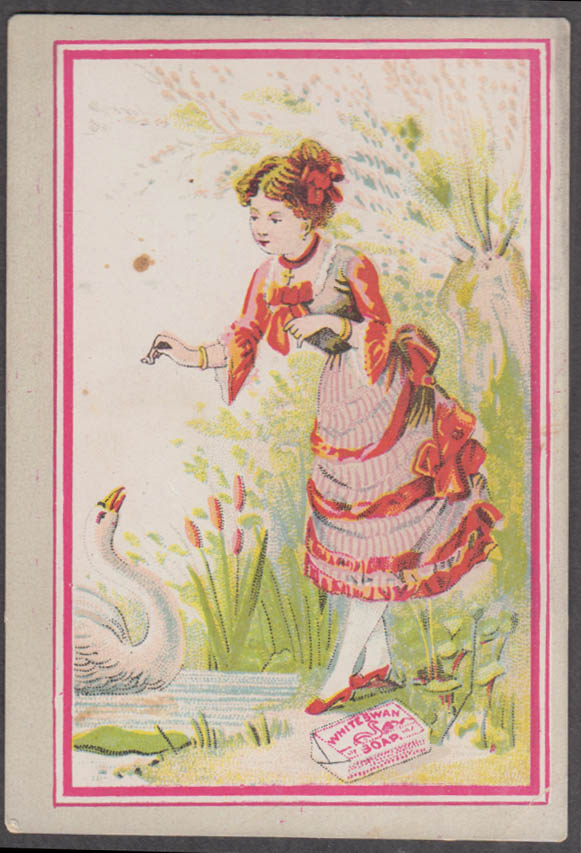 White Swan Soap trade card Rochester NY 1880s girl feeds swan