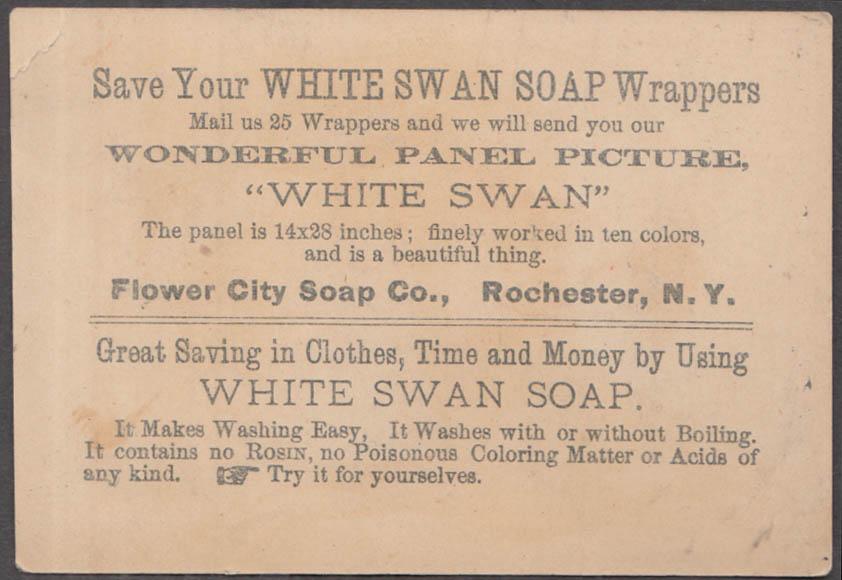 White Swan Soap trade card Rochester NY 1880s girl feeds swan