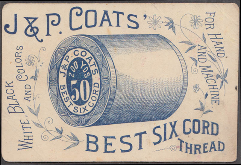 J & P Coats Best Six Cord Thread trade card 1880s girl's head in acorn